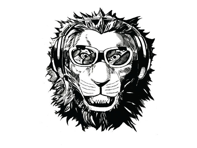 LION WITH HEADPHONES AND GOGGLES