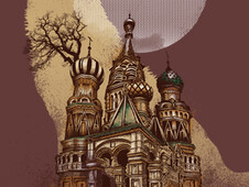 Full moon in Moscow T-Shirt Design by