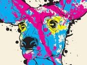 Peacefingers wearing CMYK...D - Cyan Magenta Yellow Black... Deer by Philryan
