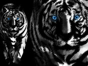 bladerunner wearing white tiger in art by JAARTIST
