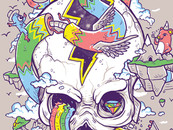 Flying Rainbow Skull Island by biotwist