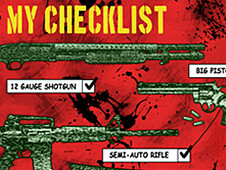 Zombie Survival Kit Checklist T-Shirt Design by