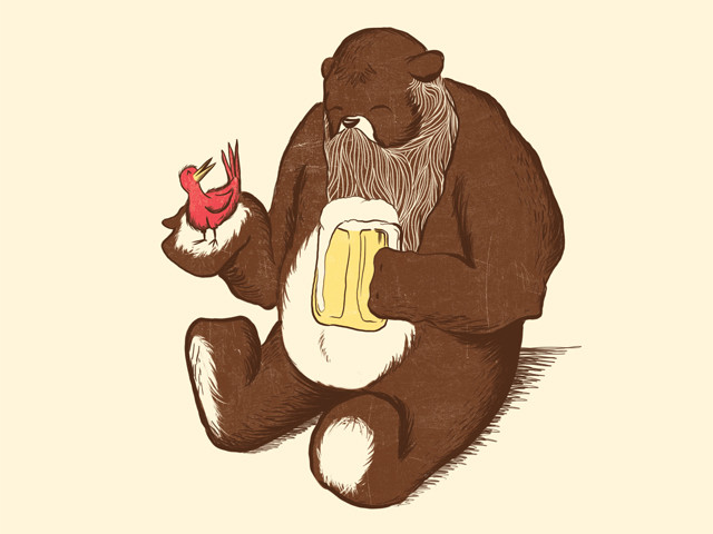 A Beardy Bear with a Beer and a Bird