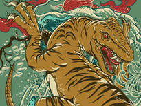 Ukiyo Raptor T-Shirt Design by