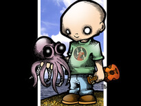 Boy and His Octopus T-Shirt Design by