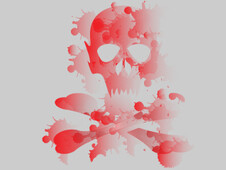 Red Scull Splatter T-Shirt Design by