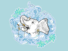 Decorated Elephant T-Shirt Design by