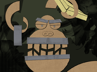 Gorilla holding bananas and roll of duct tape by colortrilogy