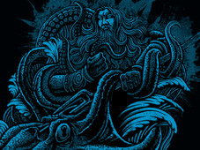 poseidon vs giant octopus T-Shirt Design by