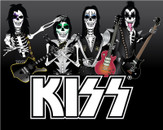 KISS Skeleton T-Shirt Design by knowles09
