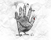 hand turkey vs. stick people by the.janitor