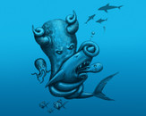 Octopus Vs Shark by joelsailo