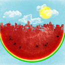 Theoni wearing Watermelon City by sustici