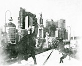 Dinosaur invading the city by augusto