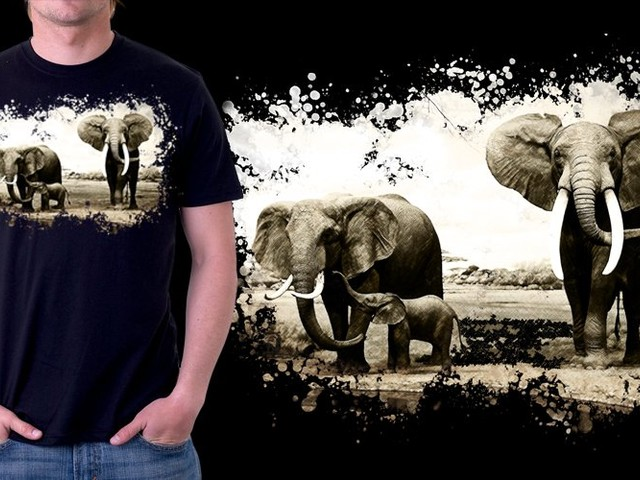Abstract Elephants family