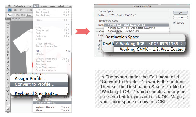 Covert CMYK to RGB Photoshop Settings