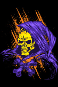 Purple Hooded Evil Skull Dude