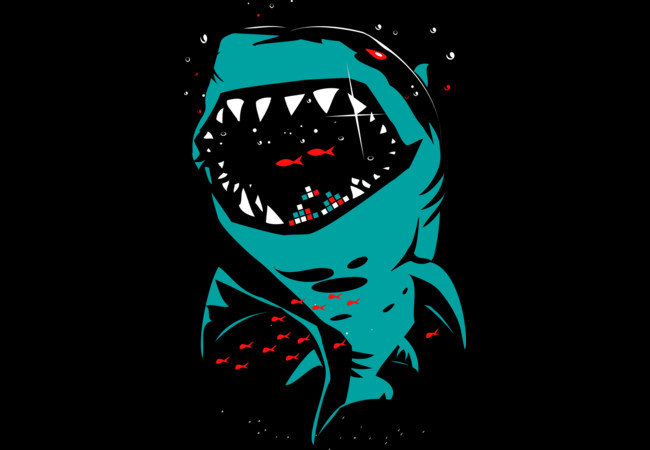 Shark with pixelated teeth!  Artwork