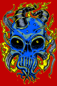 Blue Skull in Heavy Metal Comic Style