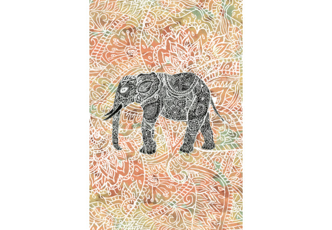 Tribal Paisley Elephant Colorful Henna Patter  Artwork