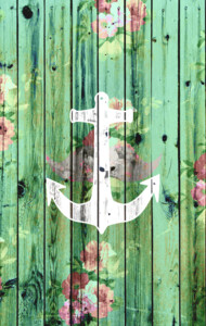 Vintage Floral Nautical Anchor Green Beach Wo