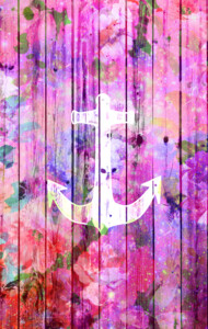 Girly Orchid Floral Nautical Anchor on Nebula