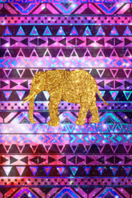 Gold Elephant Pink Nebula Space Aztec
