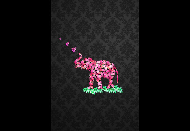 Retro Flower Elephant Pink Sakura Black Damas  Artwork