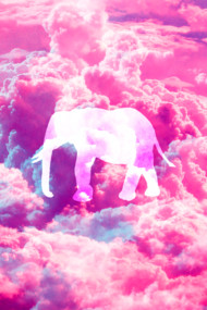 Girly Whimsical Elephant Bright Pink Clouds