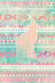 Whimsical Cat, Pink Turquoise Girly Aztec Pattern
