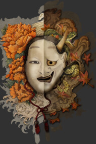 ying and yang noh mask