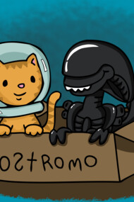 Kitten and Alien in a box