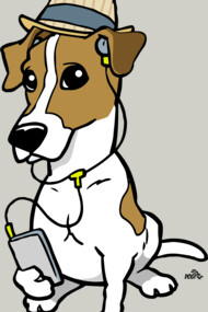 Cartoon Hipster Jack Russell