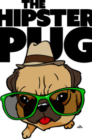 Funny Hipster Pug cartoon dog