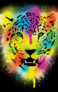 POP Tiger - Colorful Paint Splatters and Drip