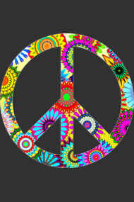 Cool Retro Flowers Peace Sign