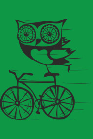 Owl by bicycle