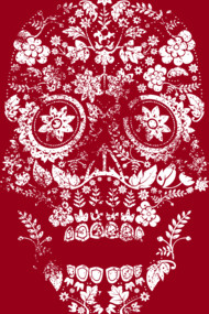 Day of the Dead Floral Skull