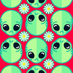 Sad Alien and Daisy Nineties Grunge Pattern