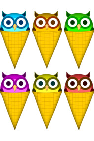 Ice cream cone owls
