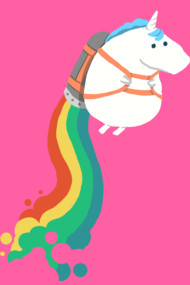 Unicorn on rainbow jet pack