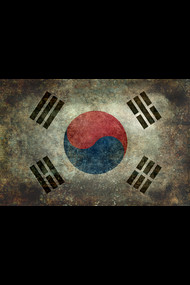 Flag of South Korea, vintage retro style