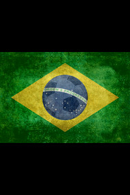Flag of Brazil with ball, vintage retro style