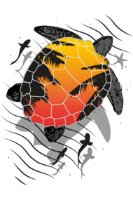 Red sun floating turtle