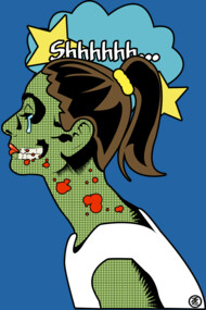 Zombie Pop Art Girl Shhh