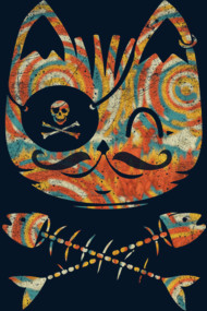 Hipster Moustache Pirate Cat
