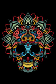 full color skull ornamental