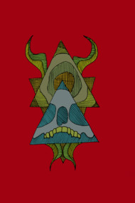 skull, horns, triangles