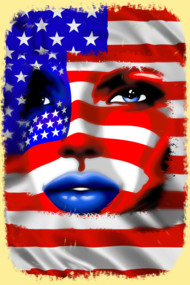 USA Flag Girl Portrait
