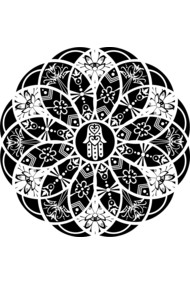Hamsa Eye Lotus Mandala - Black